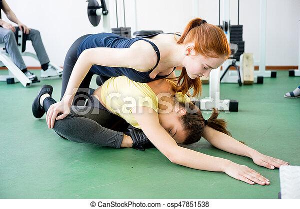 exercícios, menina, ginásio - csp47851538