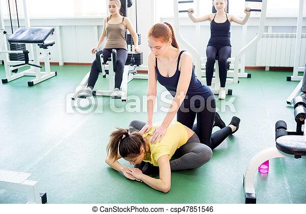 exercícios, menina, ginásio - csp47851546