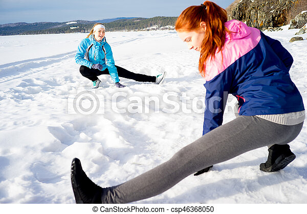 exercícios, meninas, dois, aeróbica - csp46368050