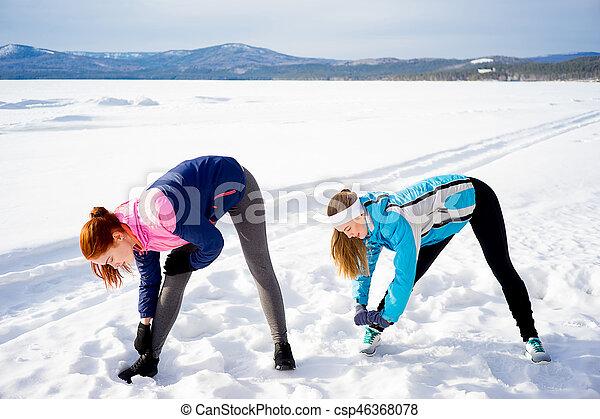 exercícios, meninas, dois, aeróbica - csp46368078
