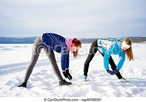 exercícios, meninas, dois, aeróbica - csp46368091