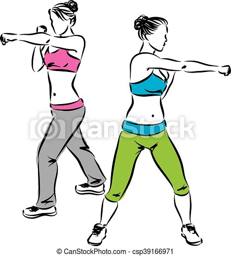 Exercices, femmes, boxe, coup de pied, fitness. Boxe, illustration, fitness, exercices, coup de pied, femmes.