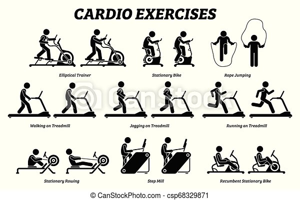 Exercices Gym Formation Cardio Fitness Machine Depeindre Stationnaire Dessin Modeles Velo Bike Aviron Corde Canstock