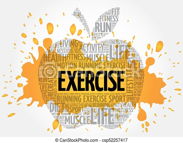 Exercise Apple Word Cloud Health Concept