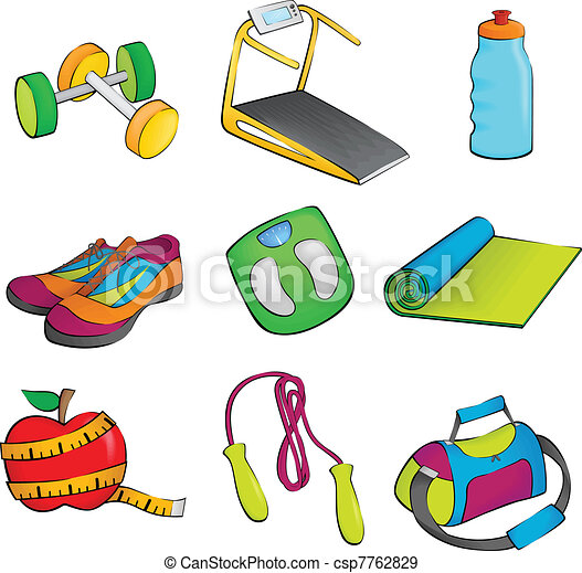 a vector illustration of exercise equipment icons eps vectors rh canstockphoto com  sports equipment clipart black and white