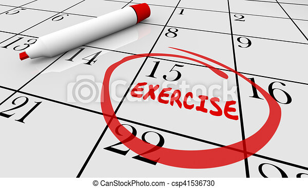 Exercise Fitness Schedule Workout Class Day Calendar 3d