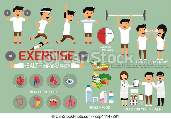 Exercise Or Sport For Health And Check Your Body Infographics Vector Illustration