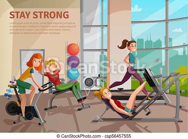 Exercise room illustration girls doing fitness on treadmill bike