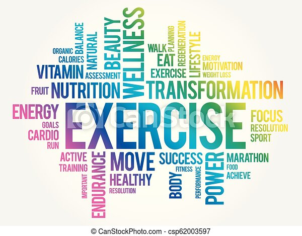 Exercise Word Cloud Fitness Sport Health Concept