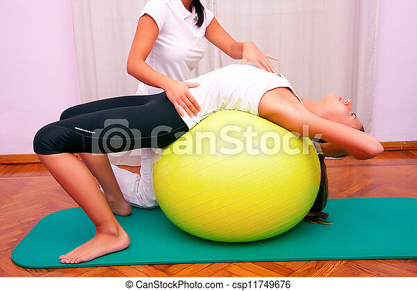 exercises control basin trunk with bobath ball fitball stabilization exercises - csp11749676