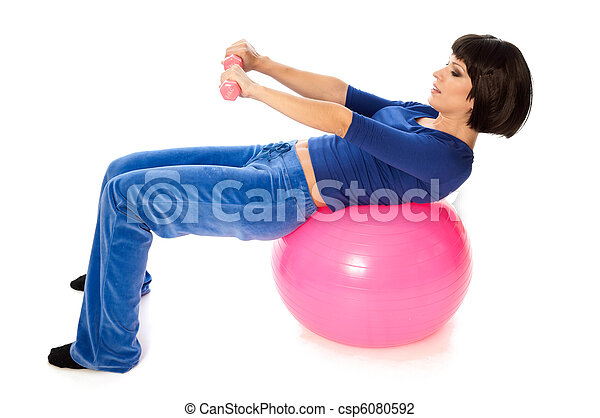 Exercises with dumbbells on a gymnastic ball - csp6080592