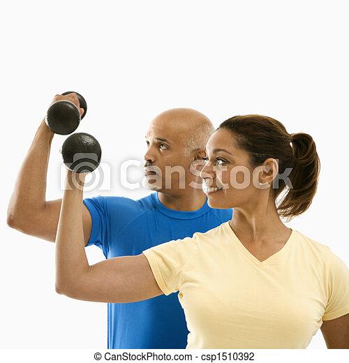 exercising., frau, mann - csp1510392