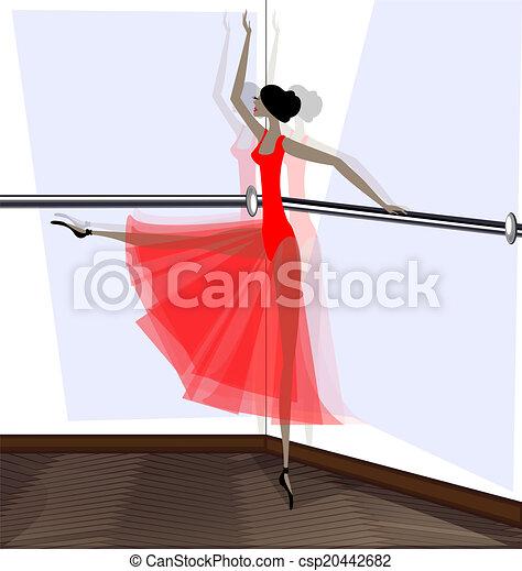 exercising of ballet dancer in red - csp20442682