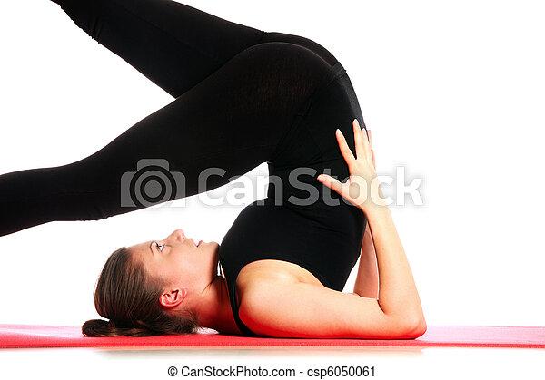 Exercising on mat - csp6050061