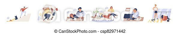 Exhausted, fatigue people in procrastination and emotional burnout on white background. Tired, frustrated, weak, unhappy people do nothing, fall down stairs, laying sofa in flat vector illustration - csp82971442