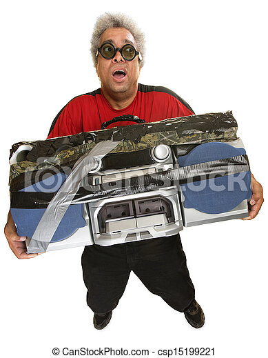 Exhausted Man with Tape Deck - csp15199221