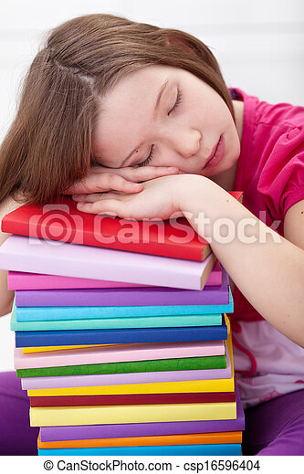 Exhausted young girl asleep on book stack - csp16596404