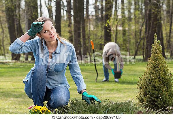Exhausting work in garden - csp20697105