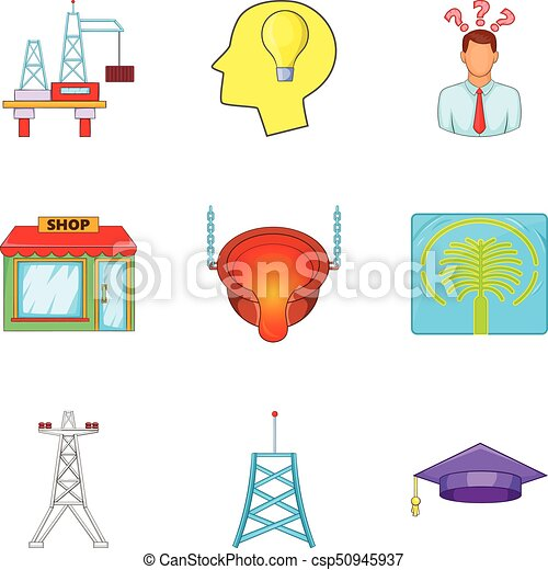 Exhaustion icons set, cartoon style - csp50945937