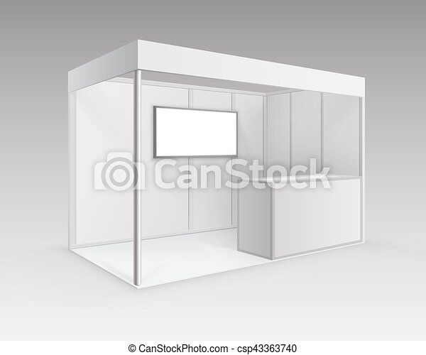 Exhibition Booth Blank : Vector white blank indoor trade exhibition booth standard stand
