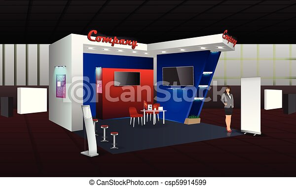 Creative Booth Exhibition : Exhibition stand display design with info board roll up. vector