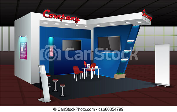 Exhibition Stand Or Booth : Exhibition stand display design with info board roll up vector