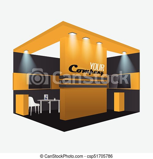 Exhibition Stand Mockup : Exhibition stand display trade booth mockup design orange and