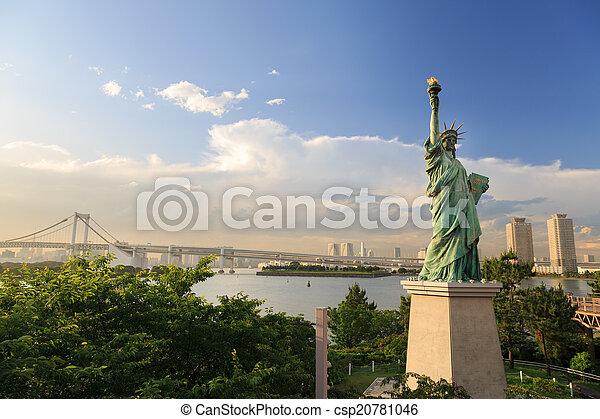 exists, 2014:, odaiba, dahin, juni, o, reproduktion, statue - csp20781046