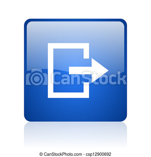 exit blue square glossy web icon on white background - csp12900692
