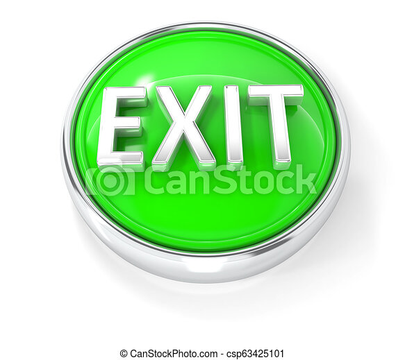 Exit icon on glossy green round button - csp63425101