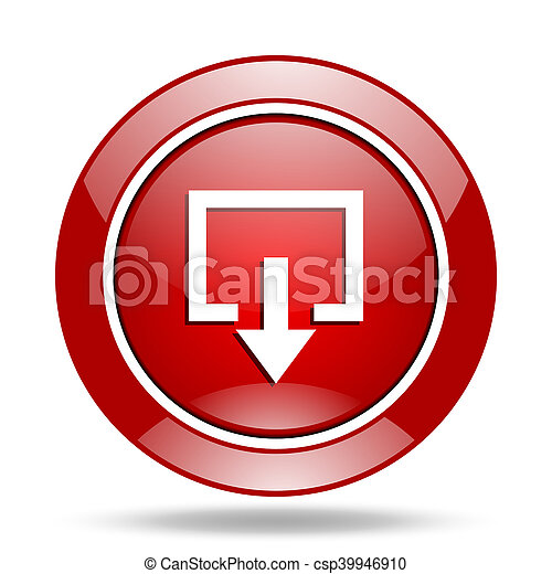 exit red web glossy round icon - csp39946910