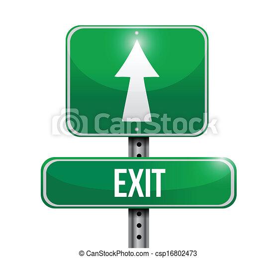 exit road sign illustration design - csp16802473