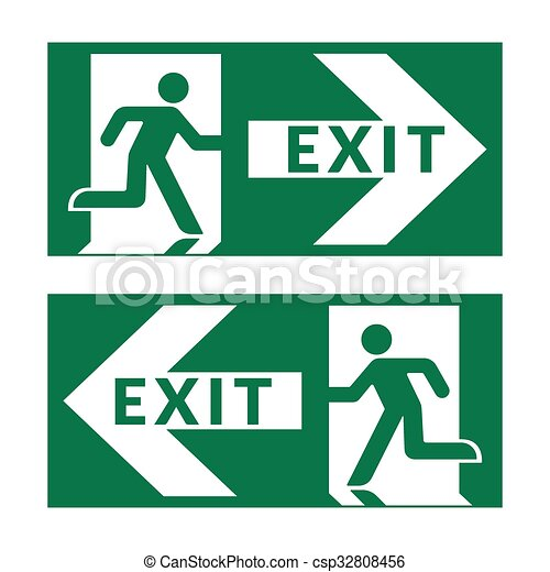 exit sign green - csp32808456