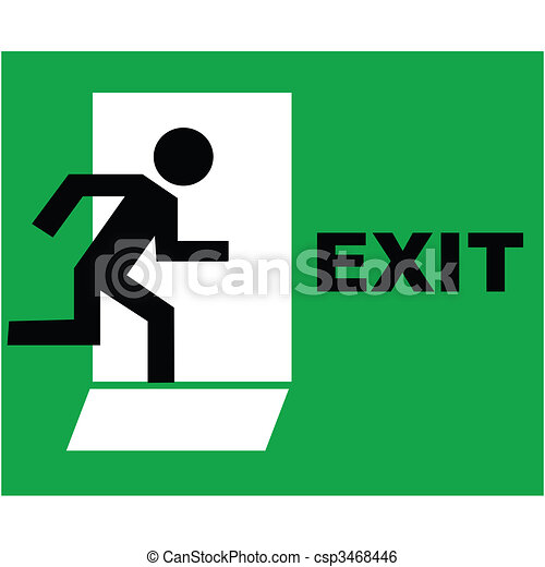 exit sign icon - csp3468446