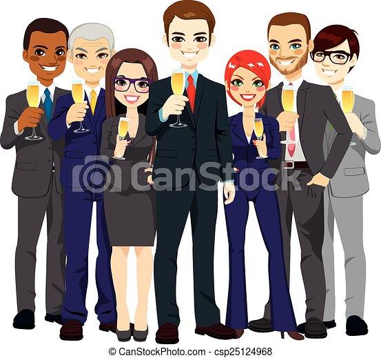 exitoso, brindar, equipo negocio - csp25124968