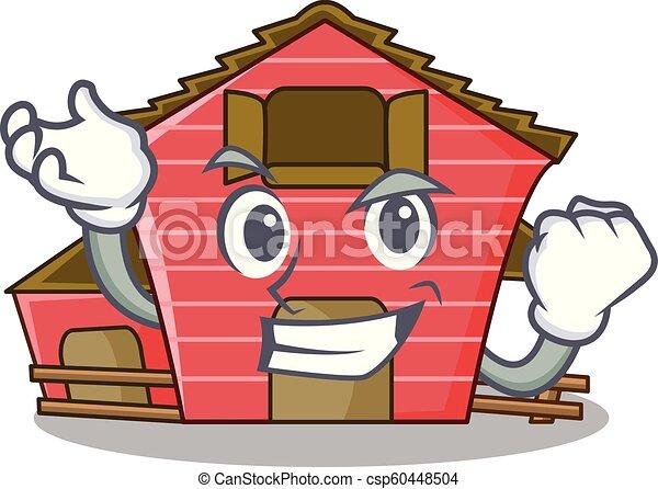 Éxito un dibujo de un personaje de un granero rojo - csp60448504