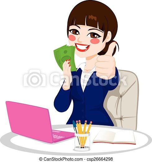 Una exitosa mujer de negocios de dinero - csp26664298