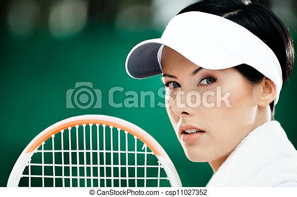 exitoso, tenis, arriba, jugador, hembra, cierre - csp11027352
