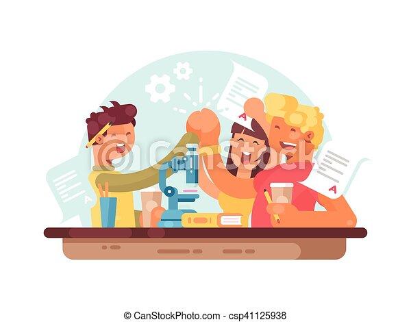 Trabajo en equipo, estudiantes exitosos - csp41125938