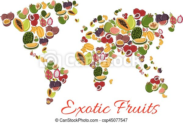 exotic fruit world map poster for food design csp45077547
