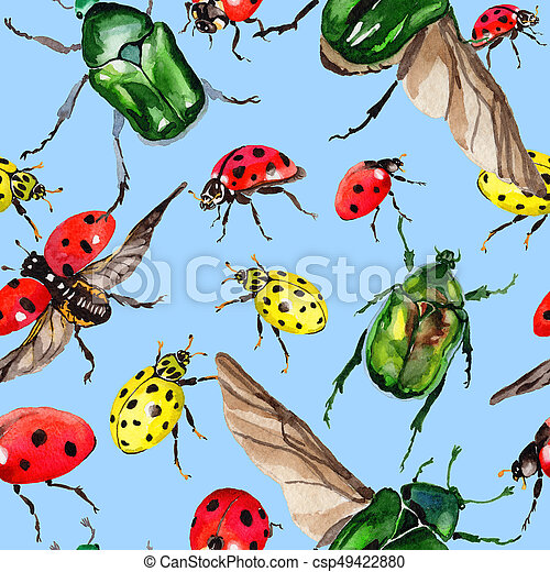 ee1716e6ed8ec Exotic ladybug wild insect pattern in a watercolor style. full name of the  insect: ladybug. aquarelle wild insect for background, texture, wrapper  pattern ...