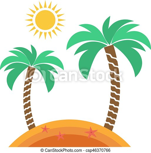 Exotic Tropical Island Vector Illustration