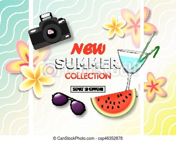 exotique, été, banner., vente, collection, fleurs tropicales, cocktail., appareil photo, endroit, texte, fond, nouveau, pastèque, lunettes soleil - csp46352878