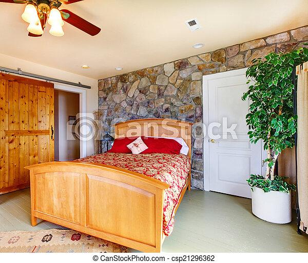 exotique, campagne, intérieur, chambre à coucher, maison