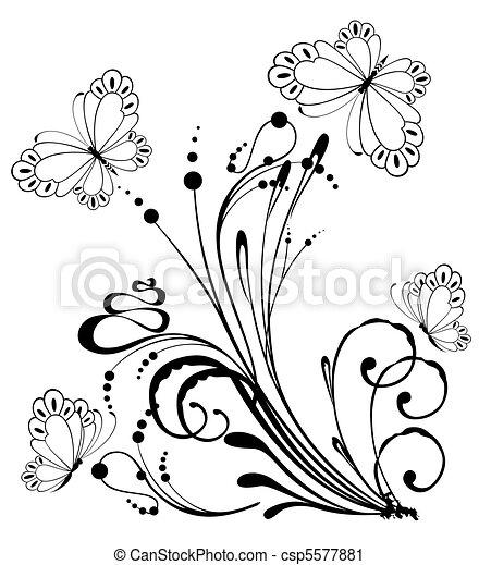 exotique, papillon, fleurs - csp5577881