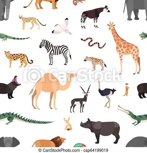Exotique Plat Style Animaux Sauvage Coloré Savane Modèle Wallpaper Emballage Seamless Illustration Arrière Plan Vecteur Papier
