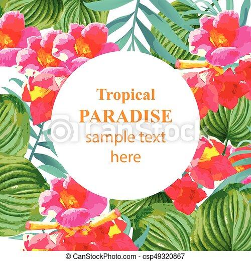 Exotische blume, card., blätter, tropische , vektor, design ...