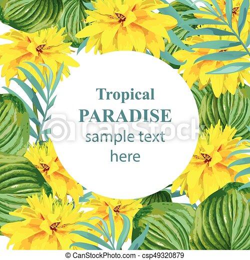 Exotische , card., blätter, gelber , tropische , vektor, design ...