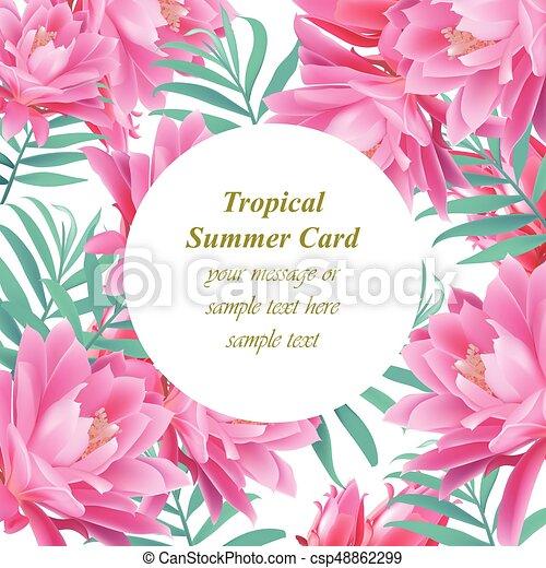 Exotische , card., blätter, tropische , vektor, design, schablone ...