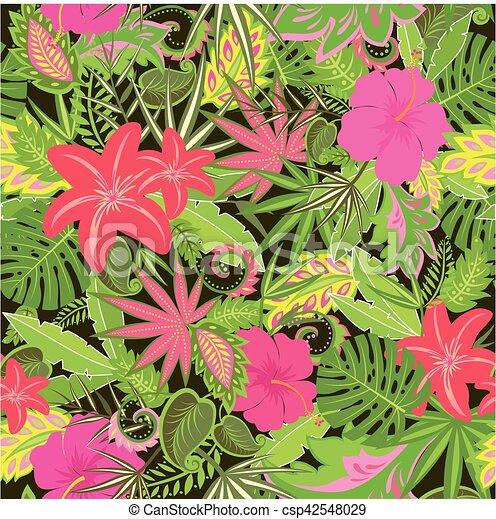 Exotische Muster Tapete Blumen Tropische